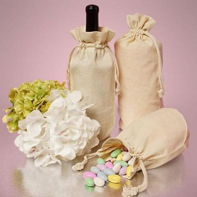 Single Bottle Natural Cotton Muslin Wine Bags with Drawstrings Closure