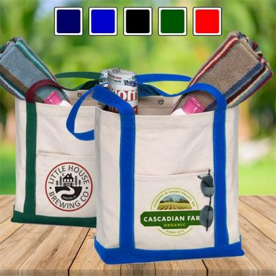 Heavy Weight Printed Boat Tote Bags w/ Contrasting Handles & Snap Closure (100pcs)