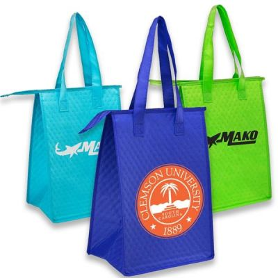Custom Printed Lunch Bags - Insulated Lunch Tote bag w/ Zipper & Handles
