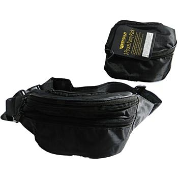 Black Nylon Fanny Pack with 3 Pockets (12 Pack)
