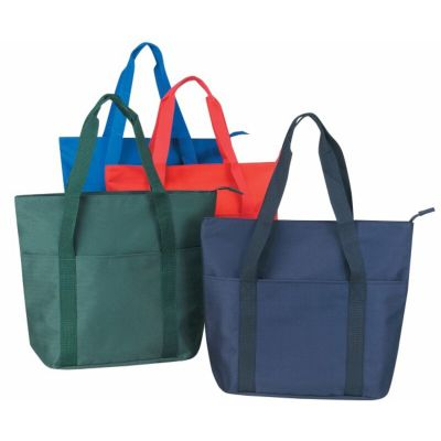 Large Polyester Tote Bag with Zipper