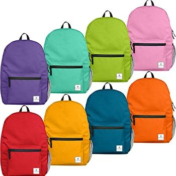 "15"" Forward Classic School Backpack with Side Mesh Pocket - 8 Assorted Colors (24 Pack)"