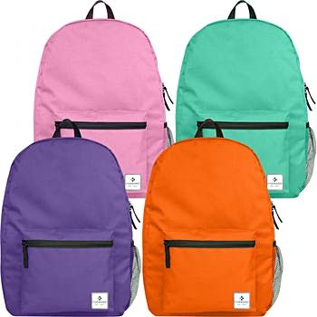 "17"" Forward Classic School Backpack with Side Mesh Pocket - 4 Assorted Colors (24 Pack)"