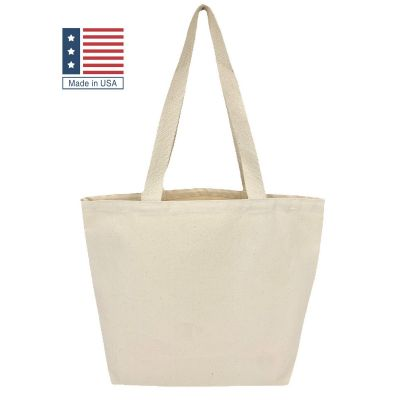 Made in USA Wide Grocery Tote Bag - (18x14x6) 12oz Canvas