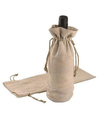 Cotton-Jute Single Bottle Wine Bags with Natural Jute Drawstrings