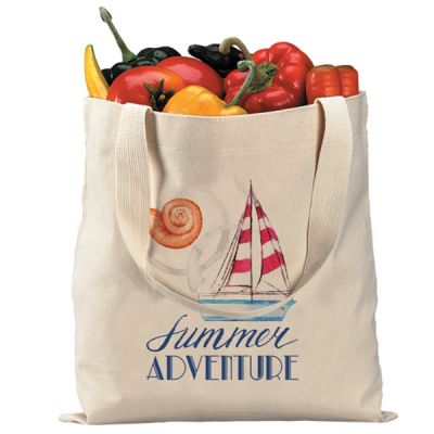 Printed Heavy Economical Cotton Canvas Natural Tote Bag (100-Pack)