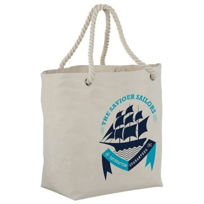 Printed Heavy Canvas Nautical Rope Handle Tote Bag (50-Pack)