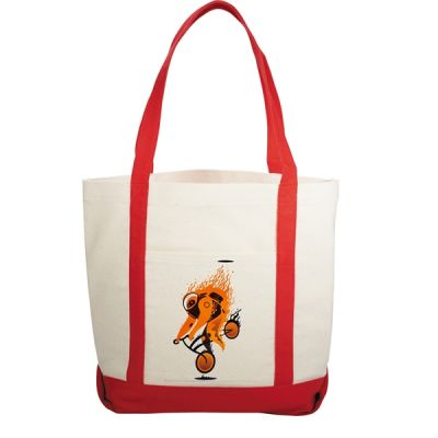 Printed Canvas Boat Tote Bags with front pocket (100pcs)