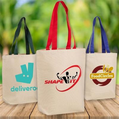 Custom Printed Classic Canvas Tote Bag w/ Colored Handles (100pcs)
