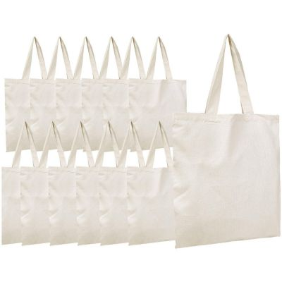 Cotton Canvas Tote Bags in Bulk - 12 Pack - 100% Cotton Tote Bags Wholesale