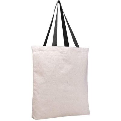 Canvas Tote Bags with Color Handles and Bottom Gusset