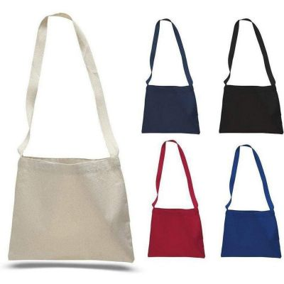 Wholesale Canvas Messenger Tote Bags with Long Shoulder Straps - Small