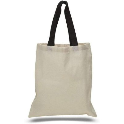 Cotton Canvas Tote Bags with Color Handles