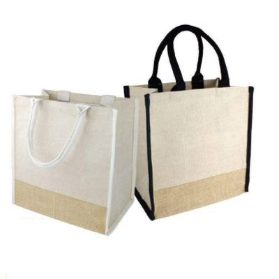 Medium Jute Blend Burlap Tote Bags Bulk with Full Gusset - B912