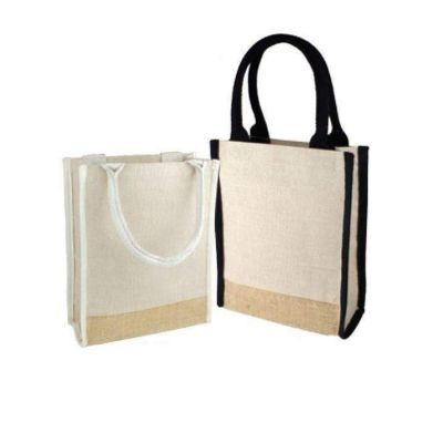 Small Size Jute Blend Cute Book Tote Bag with Full Gusset - B911