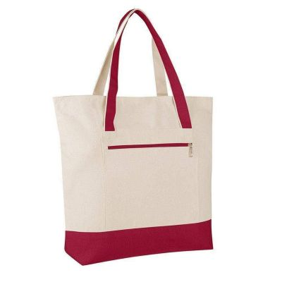 Large Canvas Tote Bag with Zipper Pocket - Set of 12