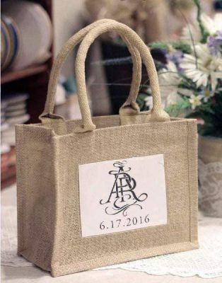 Rustic Mini Burlap Jute Bags Wedding Party Favor Bags - Set of 6