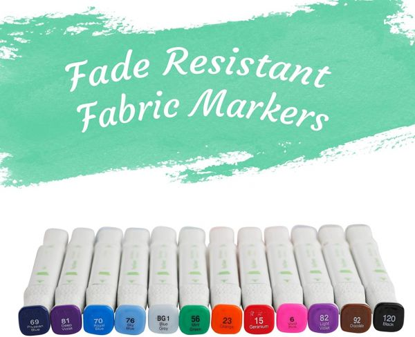 Permanent Fabric Markers Bulk - 12 Pack - Fabric Markers for T Shirts, Kids, Pillowcases, Onesies, Bags - Fabric Paint Pens for Clothes