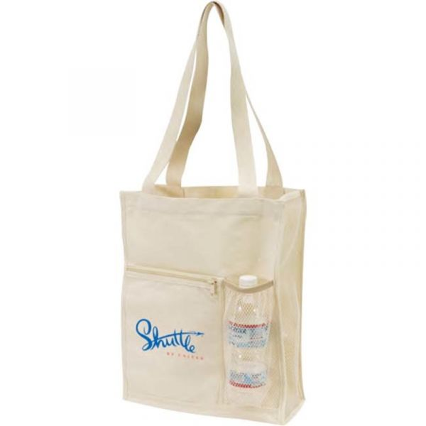 Canvas Tote Bag with Mesh Bottle Holder