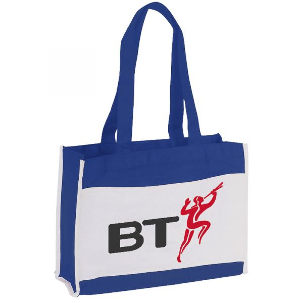 Two Tone Canvas Tote Bag with Hook and Loop Closure