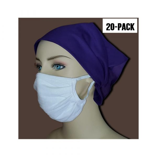 2-Ply Pleated 100% Cotton Washable / Reusable Face Masks in Bulk (20 PACK)