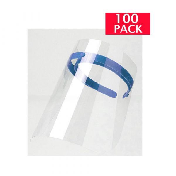 Face Shield 10.2'' X 12.7'' Optically Clear, Anti-Fog Visor, Reusable (100-PACK)