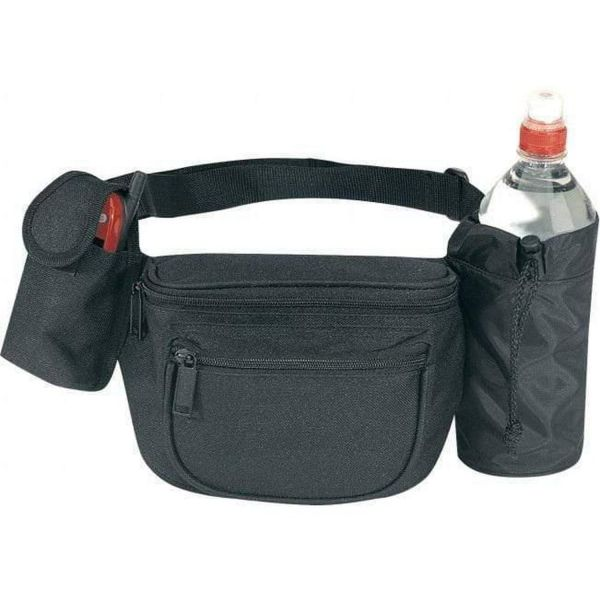 7 Zipper Wholesale Polyester Fanny Packs with Water Bottle Holder - 1057