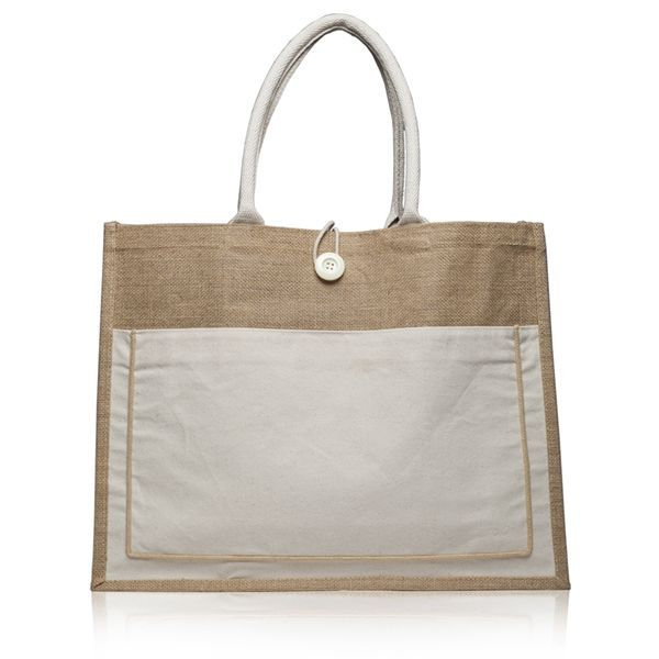 Wholesale Large Jute Tote Bags with Cotton Pocket