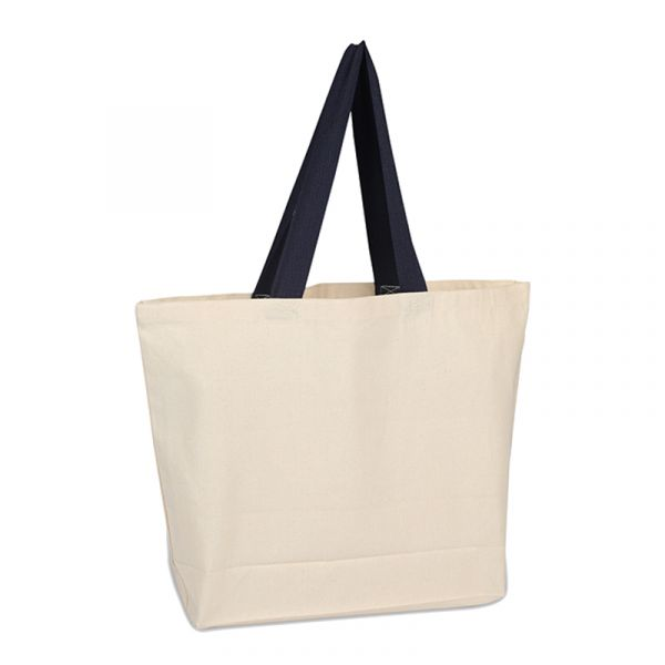 100% Cotton Canvas Beach Bags with Colored Web Handles
