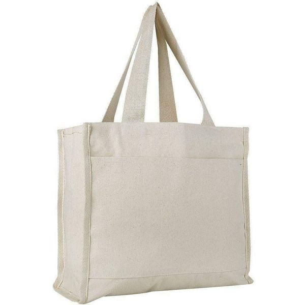 Wholesale Canvas Tote Bags with Gusset and Front Pocket
