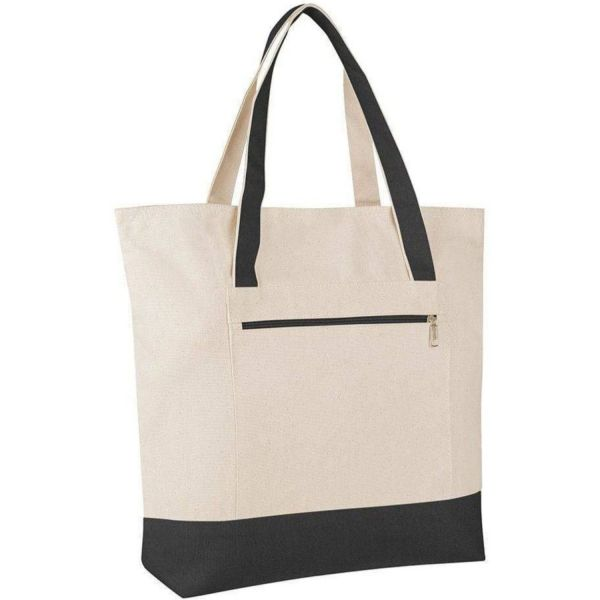 Zipper Canvas Tote Bags Wholesale with Front Pocket - Large