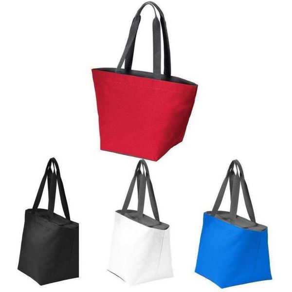 Over the Shoulder Carry all Zip Top Polyester Canvas Tote Bag - BG409