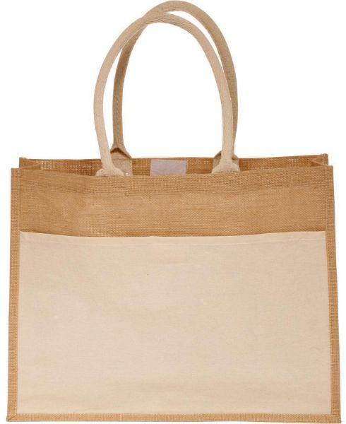 Large Wholesale Jute Bags with Front Canvas Pocket and Hook and Loop Closure