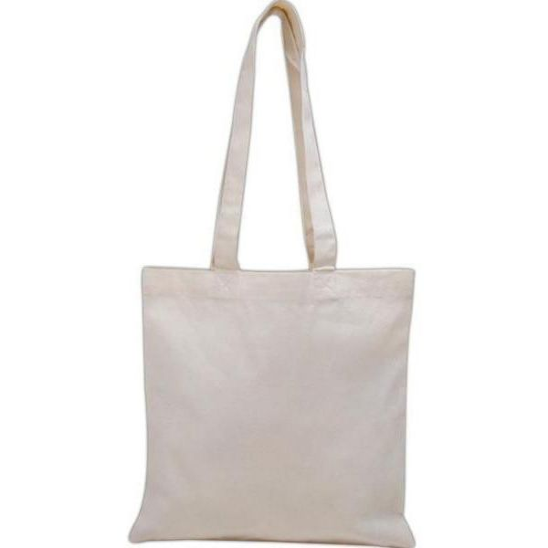 Basic Cotton Canvas Tote Bags with Over the Shoulder Long Handles