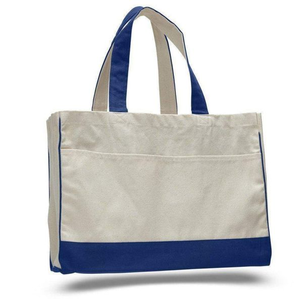 Heavy Canvas Two Tone Tote Bags with Inside Zippered Pockets - Set of 12