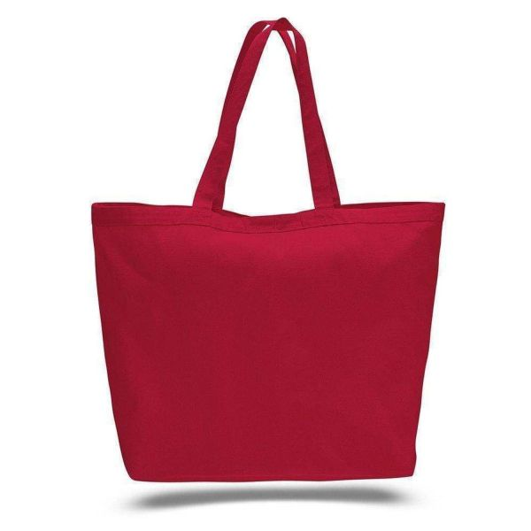 Sturdy Large Canvas Tote Bag with Hook and Loop Closure - Set of 12