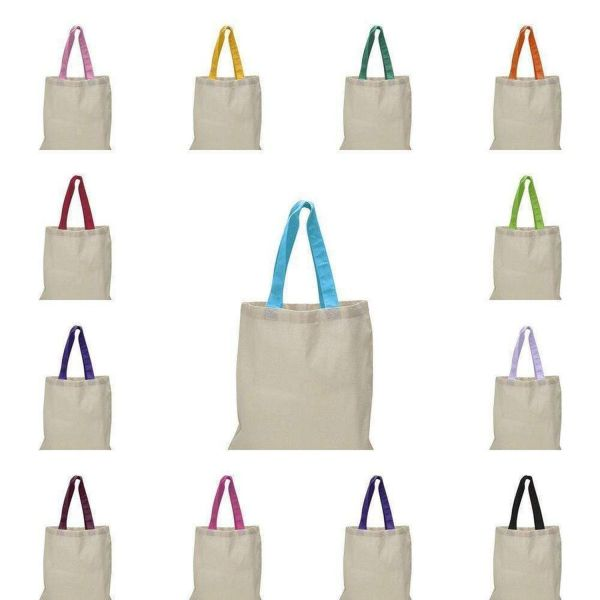 100% Cotton Tote Bag with Colored Web Handles - Set of 12