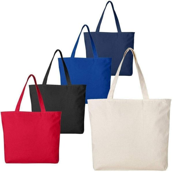 Heavy Duty Canvas Tote Bag with Zipper Closure - Set of 12