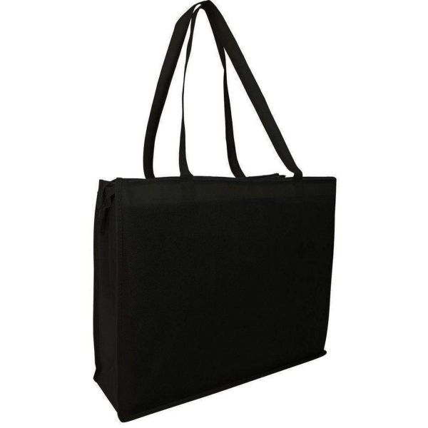 Non-Woven Promotional Giveaway Tote Bags with Zippered Closure - Set of 50