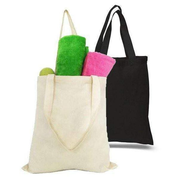 100% Cotton Reusable Grocery Plain Tote Bags - Set of 12