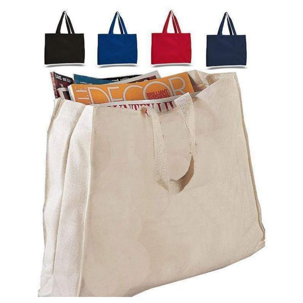 Wholesale Heavy Canvas Reusable Horizontal Tote Bag - Set of 12
