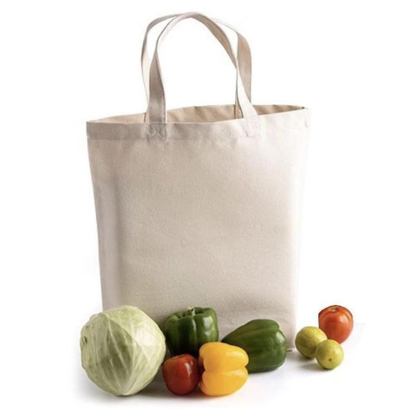 100% Cotton Natural Deluxe Tote Bag with Gusset - Set of 12