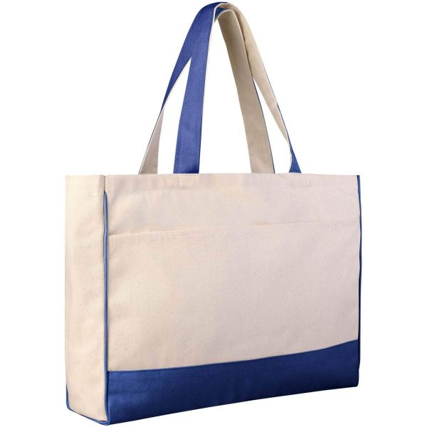 Sturdy Wholesale Canvas Tote Bags with Zippered Pocket -  Large