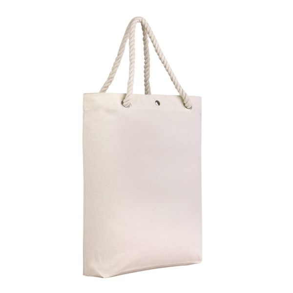 Blank Canvas Tote Bags with Rope Handles and Magnetic Snap Closure
