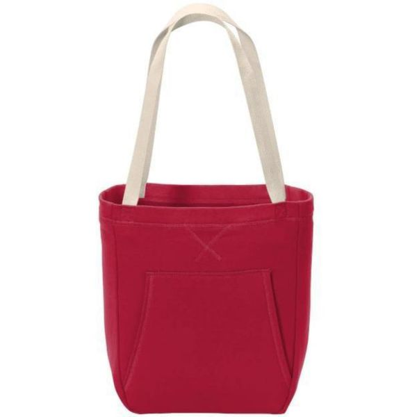 Cotton Fleece Sweatshirt Tote Bags with Front Pouch Pocket - BG415